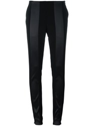 Paco Rabanne Satin Stripe Skinny Trousers Black