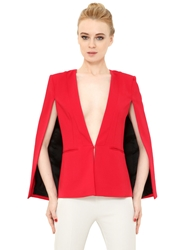 Space Style Concept Stretch Viscose Cady Cape Jacket Fuchsia