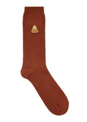 Folk Orange Cotton Blend Socks
