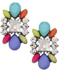 Bar Iii Hematite Tone Multi Stone And Crystal Stud Earrings