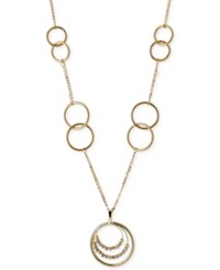Macy's Tri Tone Multi Circle Statement Necklace In 14K White Yellow And Rose Gold Tri Tone