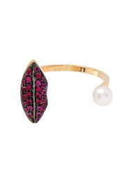 Delfina Delettrez Ruby Pearl And Yellow Gold Ring