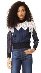 Sea Lace Hole Punch Top Navy