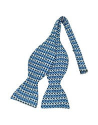 Forzieri Optical Print Silk Self Tie Bow Tie Blue
