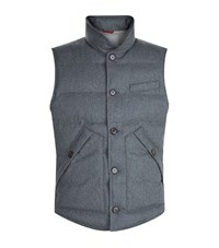 Brunello Cucinelli Flannel Down Gilet Male Dark Grey