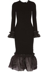 Opening Ceremony Organza Ruffle Trimmed Cady Dress Black