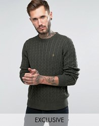 Farah Jumper With Cable Knit Exclusive Evergreen
