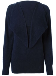 Roberta Di Camerino Vintage Flap Collar Knit Sweater Blue