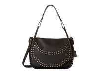 Frye Nikki Nail Head Flap Crossbody Black Soft Tumbled Full Grain Cross Body Handbags