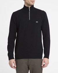 Lacoste Black With Grey Trim Zip Neck New Wool Sweater
