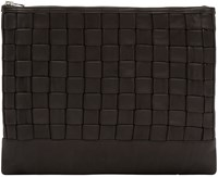 Balmain Black Leather Braided Document Holder