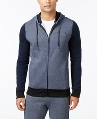 Kenneth Cole Reaction Downtime Marled Zip Hoodie Indigo Heather