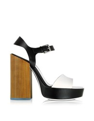 Jil Sander Black And White Leather Platform Sandal Multicolor