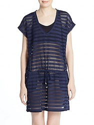 Calvin Klein Striped Crochet Coverup Navy