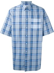 Givenchy Short Sleeve Plaid Shirt Blue