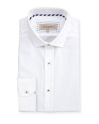 English Laundry Tonal Dot Cotton Dress Shirt White