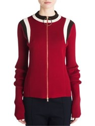 Marni Zip Front Wool Cardigan Red Brown White