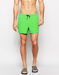Asos Short Length Swim Shorts In Neon Green Neon Green