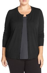 Sejour Plus Size Women's Crewneck Cardigan Black