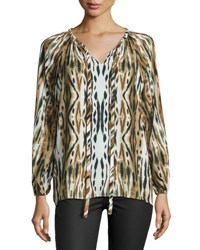 Catherine Malandrino Printed Long Sleeve Tie Front Blouse Animal Print