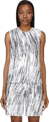 Kenzo Grey And White Sequined High Waves Tank Top