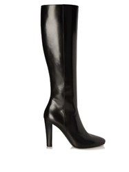 Saint Laurent Lily Cone Heeled Leather Knee Boots Black