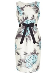 Precis Petite Rose Print Dress Cream Aqua