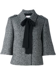Red Valentino Short Sleeved Bow Jacket Black