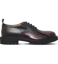 Dries Van Noten Show Fringe Leather Derby Shoes Black Comb