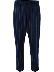 Joseph Cropped Pinstripe Trousers Blue