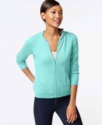 Charter Club Petite Cashmere Zip Front Hoodie Mint Bowl