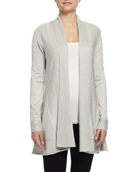 Neiman Marcus Long Sleeve Open Front Cardigan Silver Gray