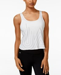 Under Armour Fly By 2.0 Cropped Graphic Tank Top White