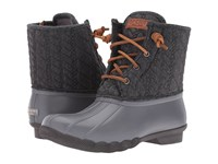 Sperry Saltwater Rope Emboss Neoprene Grey Women's Lace Up Boots Gray