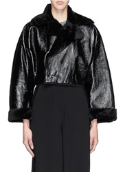 Toga Archives Patent Leather Shearling Jacket Black