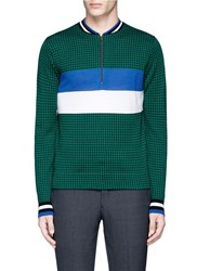Paul Smith Merino Wool Silk Houndstooth Knit Sweater Multi Colour Green