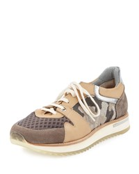 Aquatalia By Marvin K Aquatalia Nanette Camo Leather Trainer Sneaker Natural Size 37.0B 7.0B