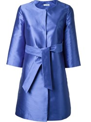 P.A.R.O.S.H. Satin Effect Belted Coat Blue