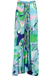 Emilio Pucci Printed Jersey Maxi Skirt Blue