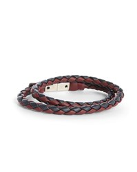 Diesel Navy And Burgundy Alucy Woven Bracelet With Double Magnet