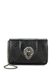 Dannijo Rocha Embellished Leather Clutch Nero