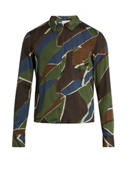 Kolor Geometric Print Zip Though Poplin Shirt Green Multi