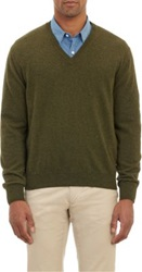Barneys New York Cashmere V Neck Pullover Sweater Green