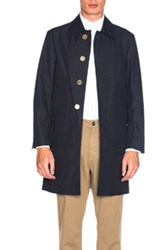 Thom Browne Classic Packable Waxed Cotton Jacket In Blue