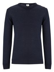 John Lewis Kin By Made In Italy Merino Blend Button Neck Jumper Navy