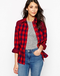 Influence Check And Gingham Long Sleeve Shirt Red