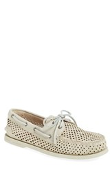 Men's Sperry 'Authentic Original' Perforated Leather Boat Shoe Ivory Leather