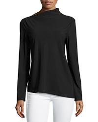 Paperwhite Asymmetric Boat Neck Blouse Black