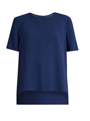 Adam By Adam Lippes Short Sleeved Satin Crepe Top Blue
