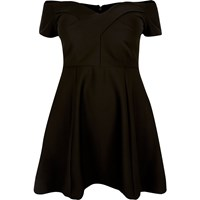 River Island Womens Ri Plus Black Bardot Skater Dress